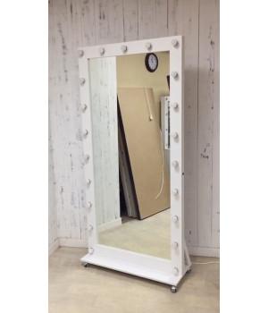 Ростовое гримерное зеркало с подсветкой на колесах 200х100 Премиум
