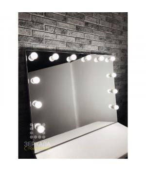Гримерное зеркало с подсветкой без рамы 80х100 см