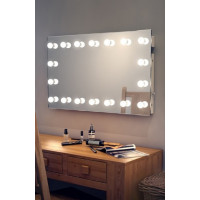 Настенное гримерное зеркало без рамы 180x80 мм с подсветкой LED лампами по контуру
