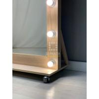 Гримерное зеркало на роликах во весь рост 180х80 Светлый дуб ЛДСП Премиум
