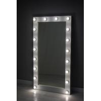 Белое гримерное зеркало 160х80 с подсветкой лампочками