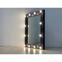 Гримерное зеркало в стиле лофт 100x80 черного матового цвета 12 ламп по контуру