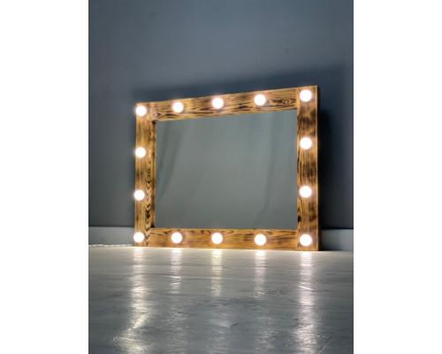 Зеркало в ванную из дерева с подсветкой лампочками 90х70