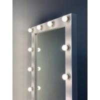 Гримерное зеркало на подставке с колесиками 180x80 белое матовое с подсветкой 18 ламп