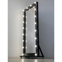 Гримерное зеркало на подставке с колесиками 180x80 черное матовое с подсветкой 18 ламп
