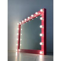 Гримерное зеркало 150x100 розового цвета с подсветкой 18 светодиодными лампами