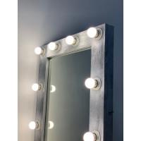 Гримерное зеркало 80x60 серебристого цвета и подсветкой 10 LED лампами