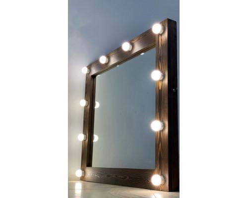 Зеркало для ванной комнаты из дерева с подсветкой 80х90