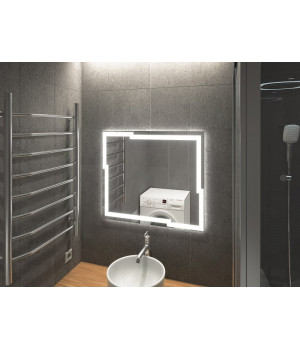 Зеркало в ванную комнату с подсветкой светодиодной лентой Лавелло