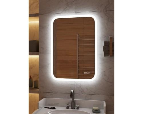 Зеркало для ванной с подсветкой и часами Оливия