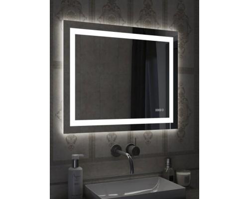 Зеркало для ванной с подсветкой и часами Мария