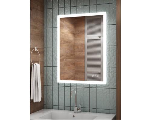 Зеркало для ванной с подсветкой и часами Селивья