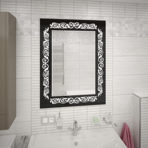 Зеркало с подсветкой в ванной Персона-Блэк